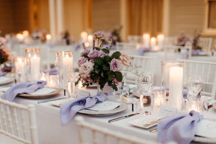 White + Purple Guest Table from a Romantic & Elegant Garden Wedding on Kara's Party Ideas   KarasPartyIdeas.com