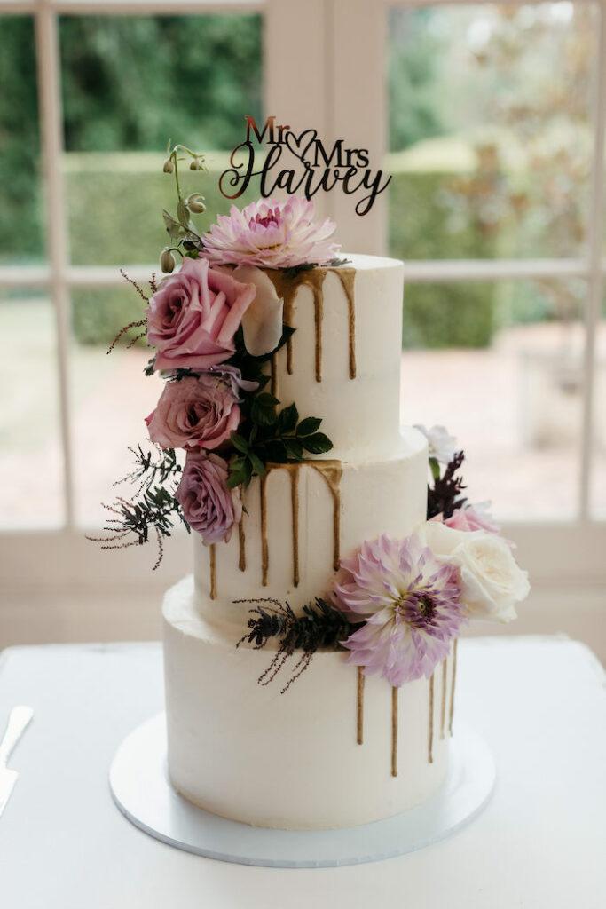 Romantic Drip Wedding Cake from a Romantic & Elegant Garden Wedding on Kara's Party Ideas   KarasPartyIdeas.com