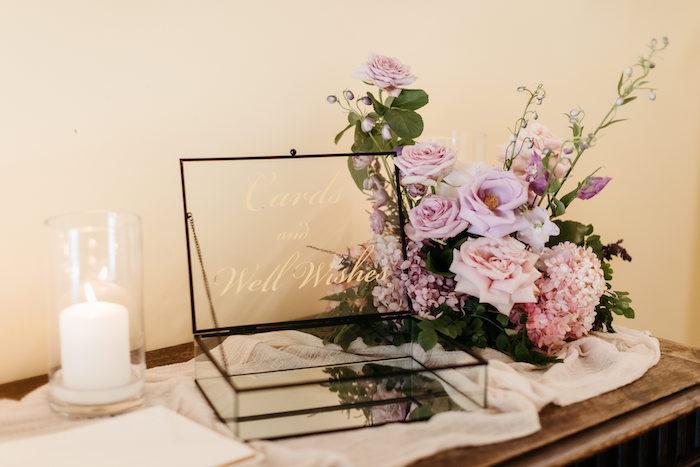 Glass Card & Well Wishes Box from a Romantic & Elegant Garden Wedding on Kara's Party Ideas   KarasPartyIdeas.com