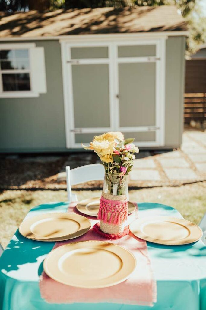 Guest Table from a Babychella Baby Shower on Kara's Party Ideas   KarasPartyIdeas.com