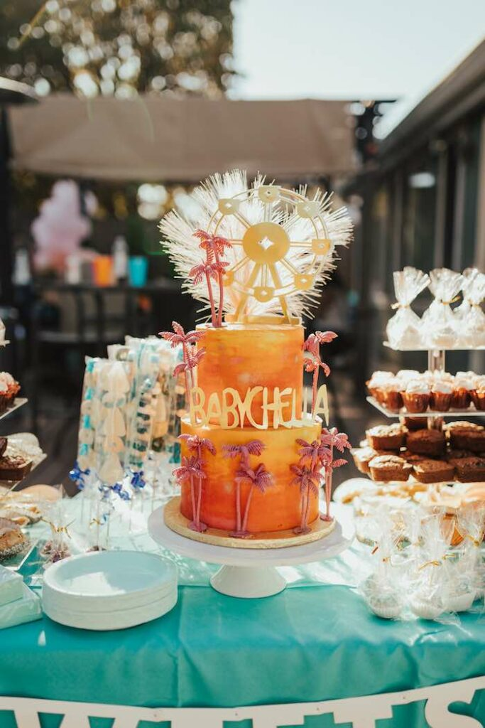 Babychella Cake + Dessert Table from a Babychella Baby Shower on Kara's Party Ideas   KarasPartyIdeas.com