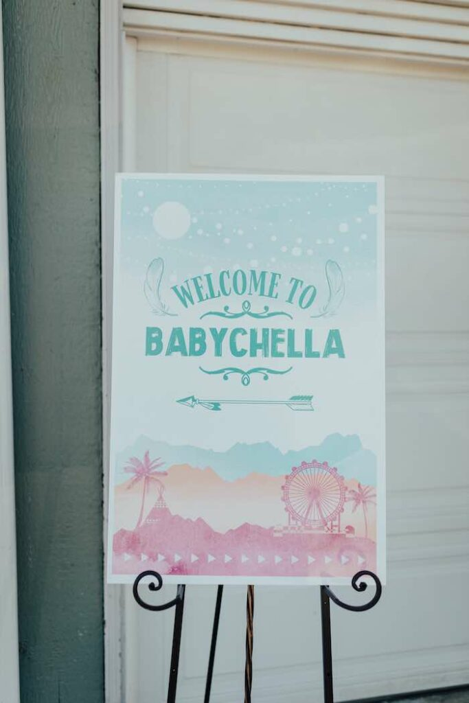 Welcome Sign from a Babychella Baby Shower on Kara's Party Ideas   KarasPartyIdeas.com
