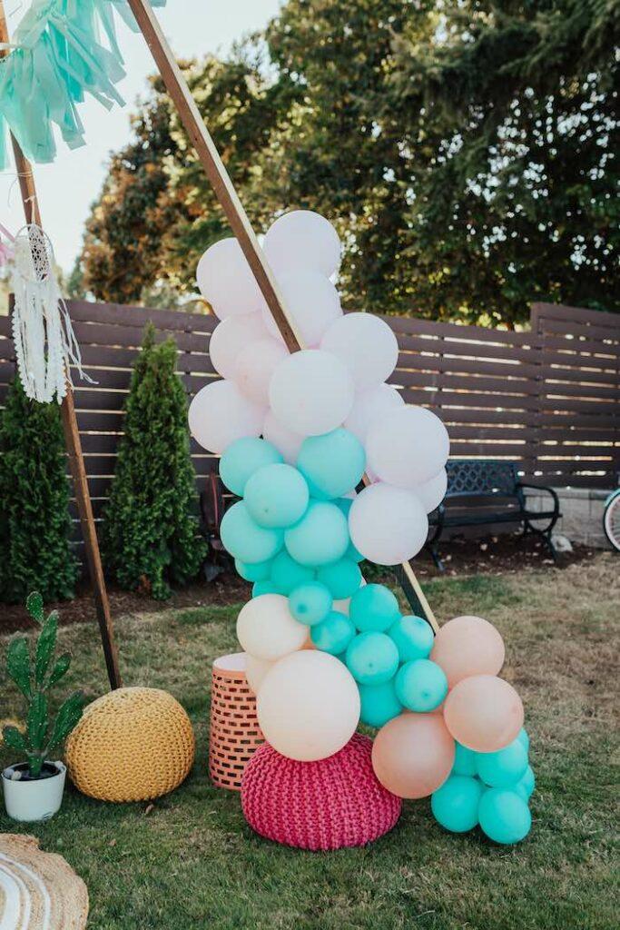 Balloon Install from a Babychella Baby Shower on Kara's Party Ideas   KarasPartyIdeas.com