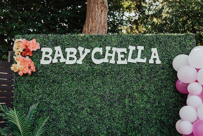 Babychella Greenery Backdrop from a Babychella Baby Shower on Kara's Party Ideas   KarasPartyIdeas.com