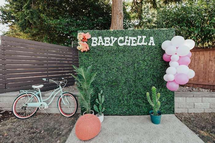 Babychella Photo Booth from a Babychella Baby Shower on Kara's Party Ideas   KarasPartyIdeas.com