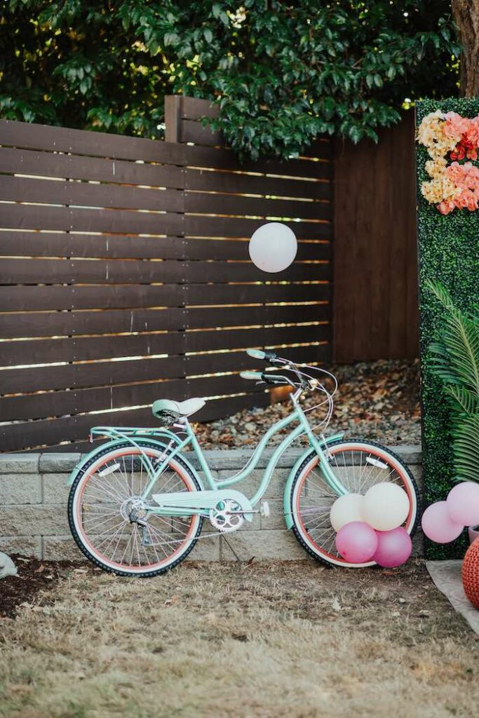 Vintage Bicycle from a Babychella Baby Shower on Kara's Party Ideas   KarasPartyIdeas.com