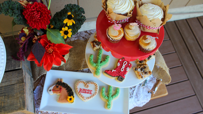 """Western Themed Cookies + Cupcakes from a """"Saddle Up & Celebrate"""" Cowboy + Western Birthday Party on Kara's Party Ideas 