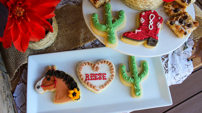 """Western Cookies from a """"Saddle Up & Celebrate"""" Cowboy + Western Birthday Party on Kara's Party Ideas 