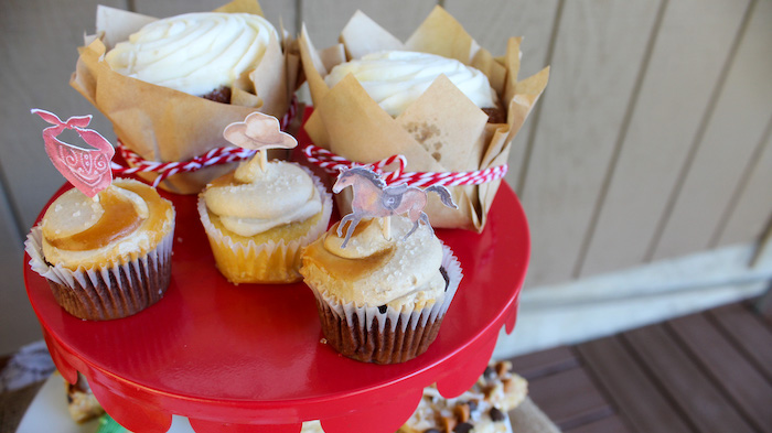 """Western Themed Cupcakes from a """"Saddle Up & Celebrate"""" Cowboy + Western Birthday Party on Kara's Party Ideas 
