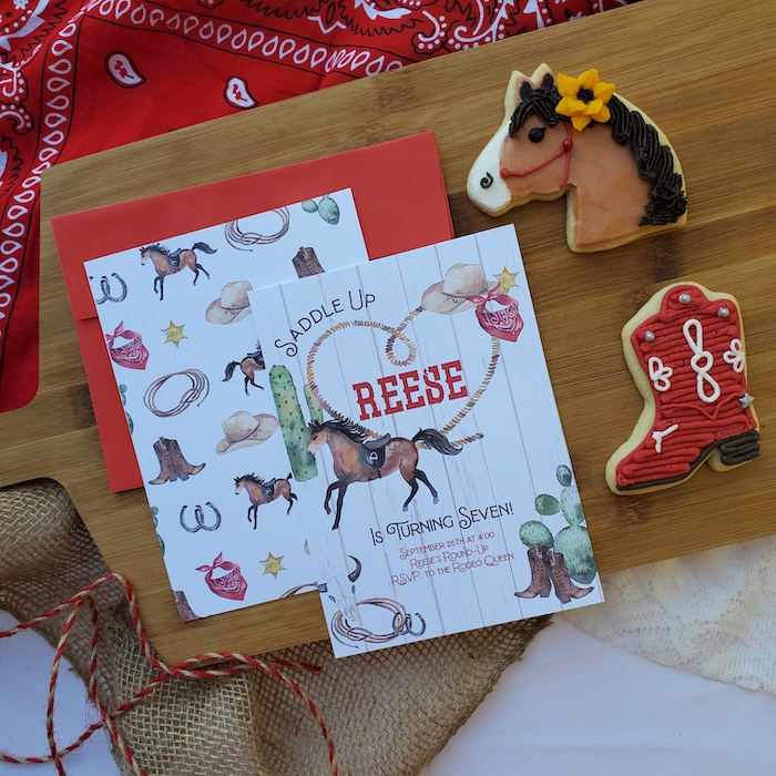 """Western Party Invite from a """"Saddle Up & Celebrate"""" Cowboy + Western Birthday Party on Kara's Party Ideas 