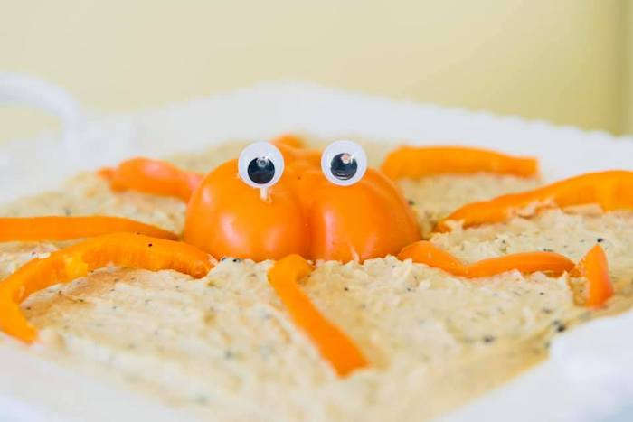 Pepper-crafted Crab + Dip from a Baby Shark Birthday Party on Kara's Party Ideas | KarasPartyIdeas.com