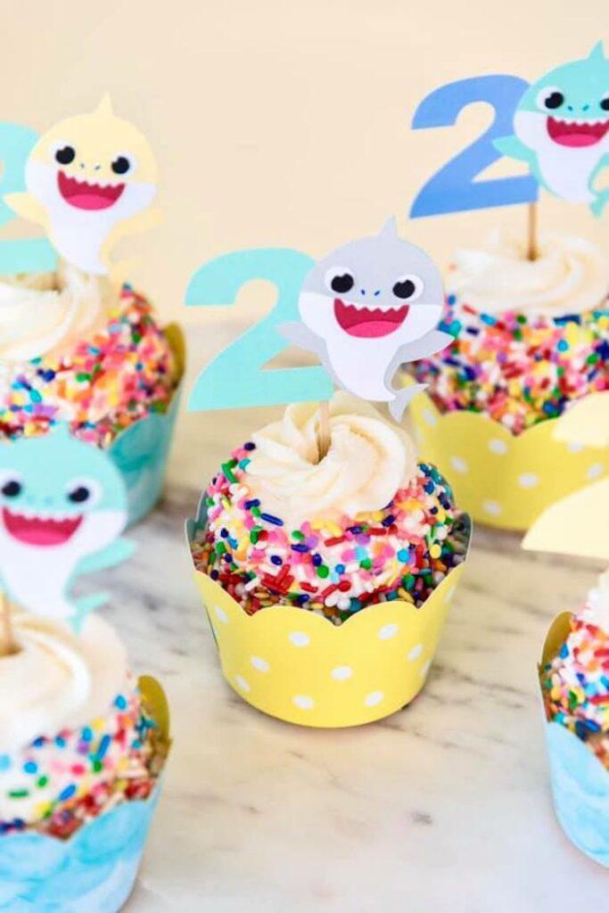 Baby Shark Cupcakes from a Baby Shark Birthday Party on Kara's Party Ideas | KarasPartyIdeas.com