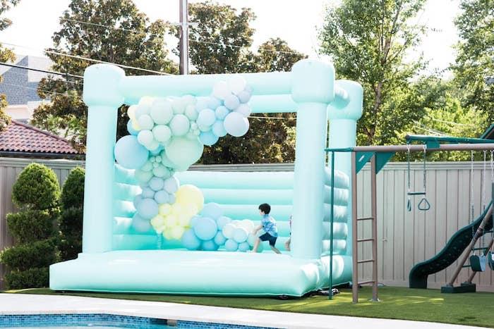 Blue Bounce House from a Baby Shark Birthday Party on Kara's Party Ideas | KarasPartyIdeas.com