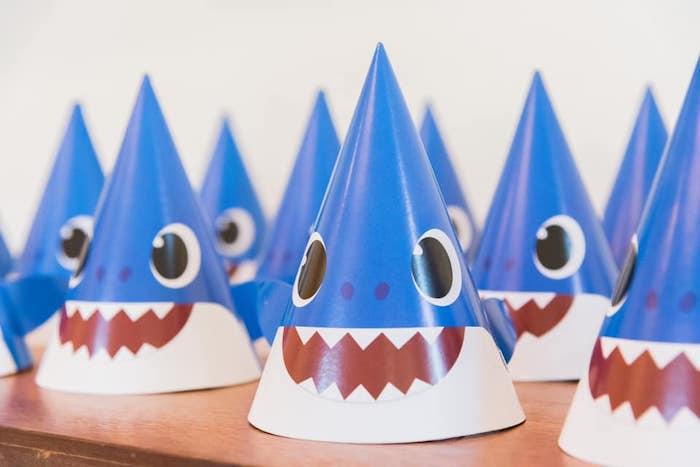 Baby Shark Party Hats from a Baby Shark Birthday Party on Kara's Party Ideas | KarasPartyIdeas.com