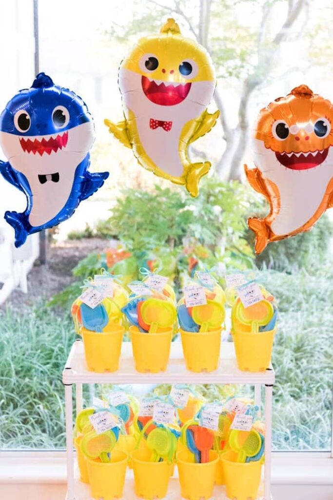 Sand Pail Favors from a Baby Shark Birthday Party on Kara's Party Ideas | KarasPartyIdeas.com