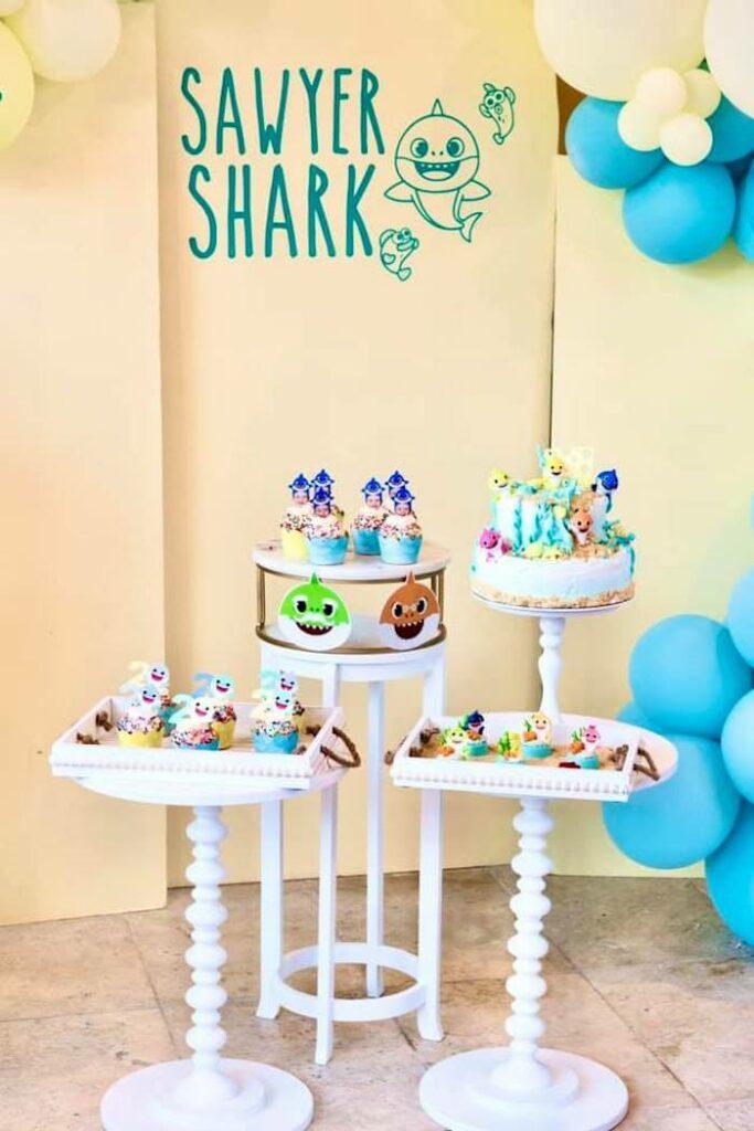 Baby Shark Pedestal Dessert Spread from a Baby Shark Birthday Party on Kara's Party Ideas | KarasPartyIdeas.com
