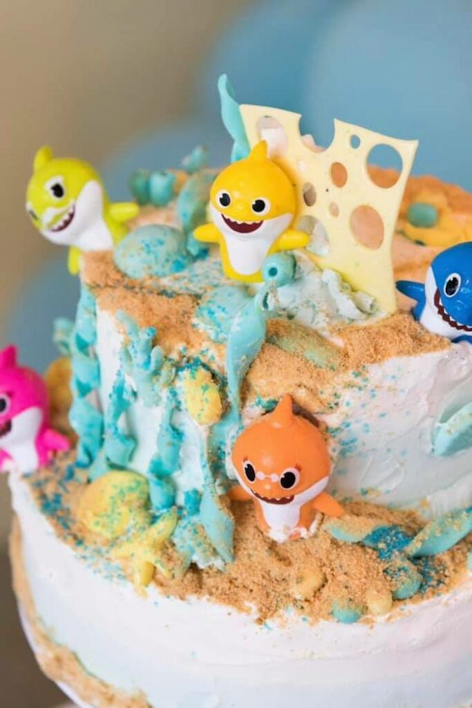 Baby Shark Cake from a Baby Shark Birthday Party on Kara's Party Ideas | KarasPartyIdeas.com