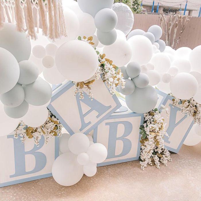 Baby Block Balloon Install from a Backyard Bohemian Baby Shower on Kara's Party Ideas | KarasPartyIdeas.com