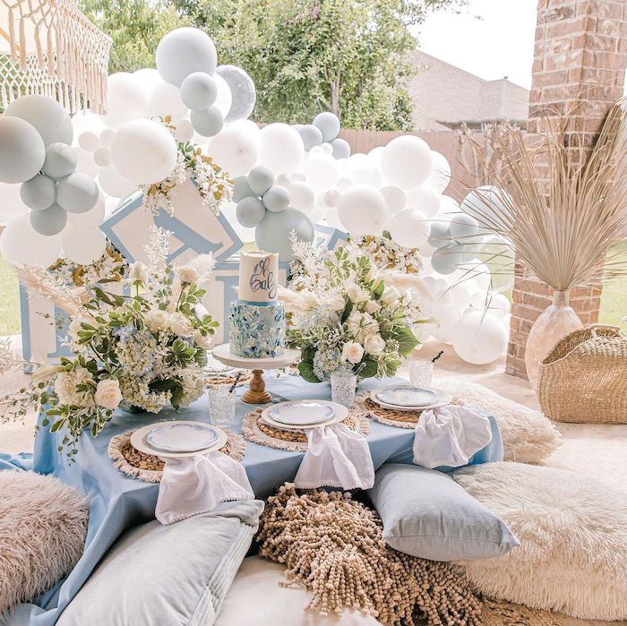 Boy Baby Shower Guest Table from a Backyard Bohemian Baby Shower on Kara's Party Ideas | KarasPartyIdeas.com