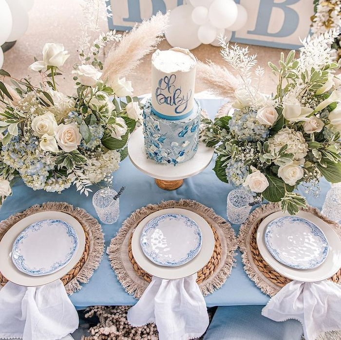 Oh Baby Cake + Guest Table from a Backyard Bohemian Baby Shower on Kara's Party Ideas | KarasPartyIdeas.com