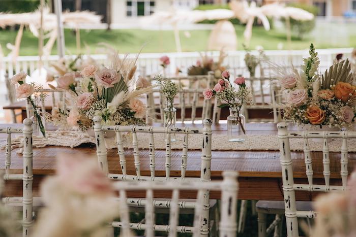 Boho Guest Tables from a Boho Bridal Bash on Kara's Party Ideas | KarasPartyIdeas.com