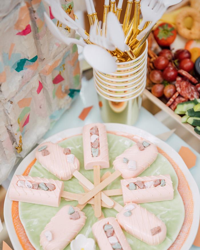 Terrazzo-inspired Cakesicles from a Boho Pastel Terrazzo Birthday Party on Kara's Party Ideas | KarasPartyIdeas.com