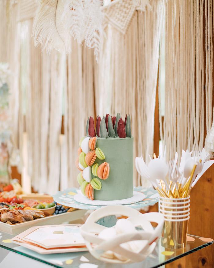 Terrazzo-inspired Cake from a Boho Pastel Terrazzo Birthday Party on Kara's Party Ideas | KarasPartyIdeas.com