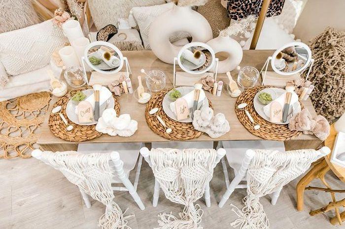 Boho Guest Table from a Chic Boho Spa Resort Birthday Party on Kara's Party Ideas | KarasPartyIdeas.com