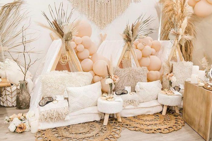 Boho Tents from a Chic Boho Spa Resort Birthday Party on Kara's Party Ideas | KarasPartyIdeas.com