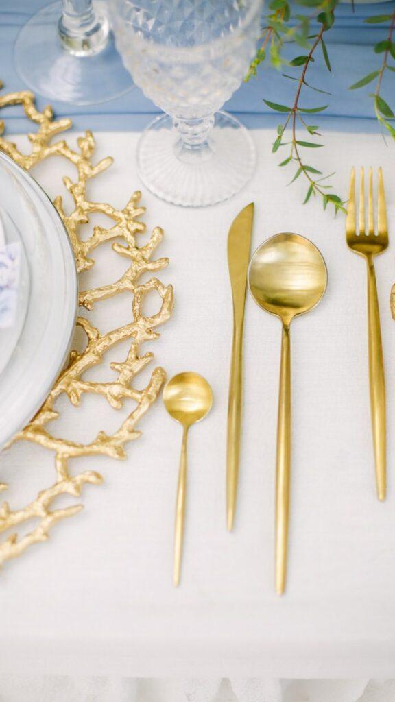 Gold Flatware from an Elegant Dusty Blue & Gold Baptism on Kara's Party Ideas | KarasPartyIdeas.com