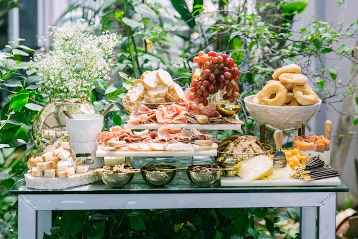 Buffet Table from an Elegant Dusty Blue & Gold Baptism on Kara's Party Ideas | KarasPartyIdeas.com