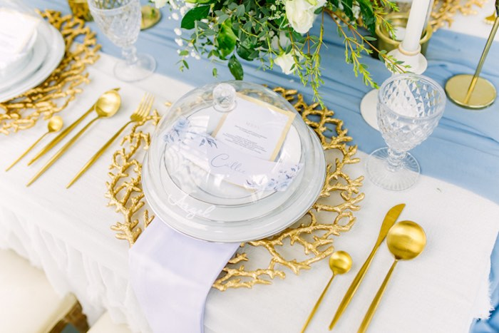 Gold + White Table Setting from an Elegant Dusty Blue & Gold Baptism on Kara's Party Ideas | KarasPartyIdeas.com