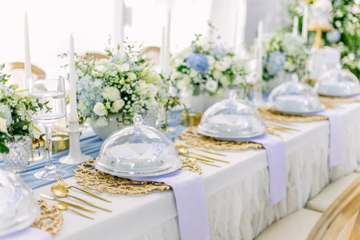Elegant Dusty Blue & Gold Guest Table from an Elegant Dusty Blue & Gold Baptism on Kara's Party Ideas | KarasPartyIdeas.com