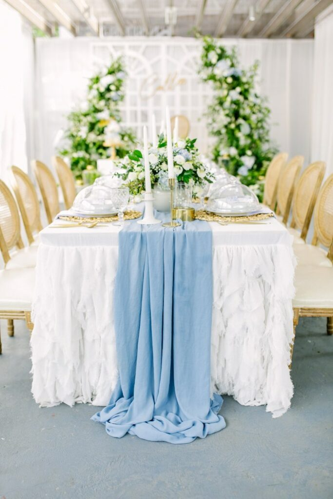 Elegant White + Blue Guest Table from an Elegant Dusty Blue & Gold Baptism on Kara's Party Ideas | KarasPartyIdeas.com