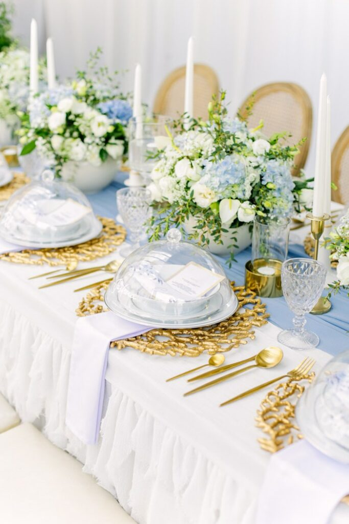 Elegant White + Gold Table Setting from an Elegant Dusty Blue & Gold Baptism on Kara's Party Ideas | KarasPartyIdeas.com