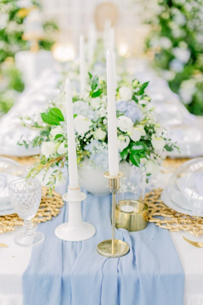 White Candles from an Elegant Dusty Blue & Gold Baptism on Kara's Party Ideas | KarasPartyIdeas.com