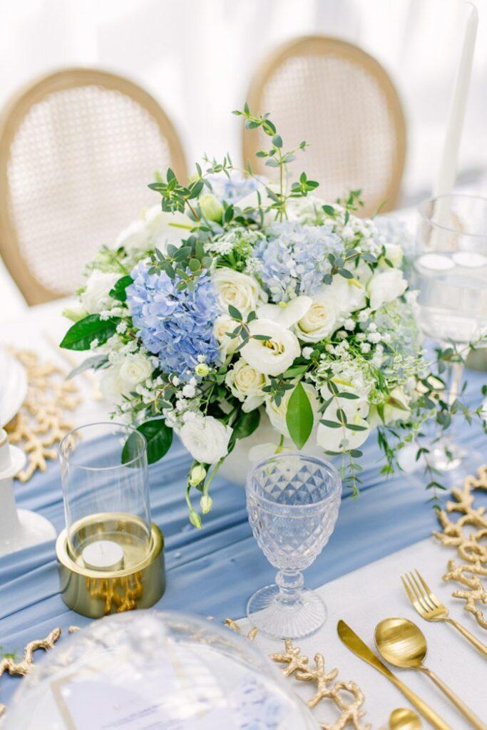Blue & White Floral Arrangement from an Elegant Dusty Blue & Gold Baptism on Kara's Party Ideas | KarasPartyIdeas.com