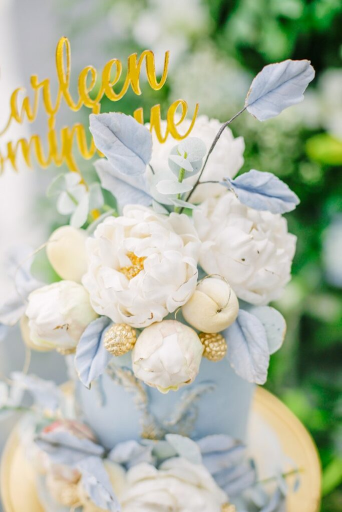 Floral Cake Topper from an Elegant Dusty Blue & Gold Baptism on Kara's Party Ideas | KarasPartyIdeas.com