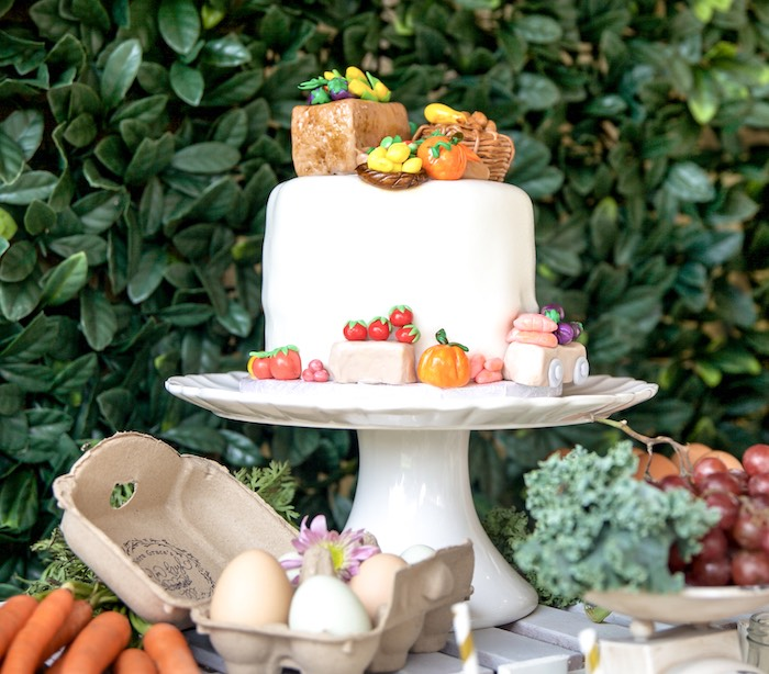 Farmers' Market Cake from a Farmers' Market Birthday Party on Kara's Party Ideas | KarasPartyIdeas.com