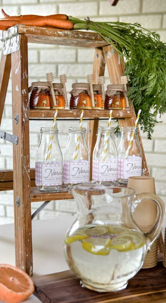 Beverage + Favor Ladder from a Farmers' Market Birthday Party on Kara's Party Ideas | KarasPartyIdeas.com