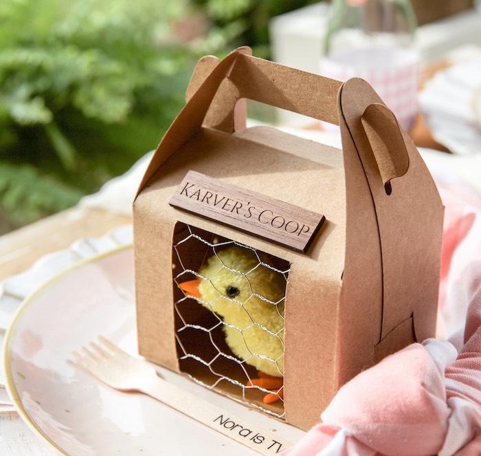 Custom Chick Coop Gable Favor Box from a Farmers' Market Birthday Party on Kara's Party Ideas | KarasPartyIdeas.com