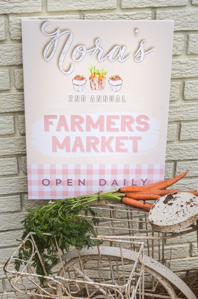 Pink Farmers' Market Welcome Sign from a Farmers' Market Birthday Party on Kara's Party Ideas | KarasPartyIdeas.com