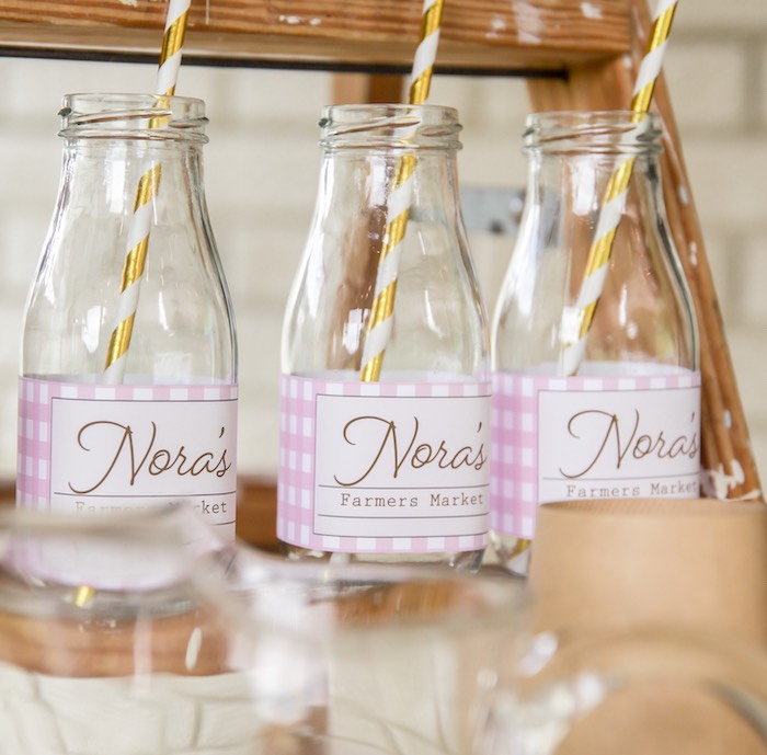 Pink Checkered Drink Bottle from a Farmers' Market Birthday Party on Kara's Party Ideas | KarasPartyIdeas.com