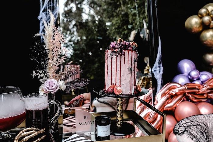 Halloween Drip Cake + Beverage Cart from a Glam Creepy Halloween Party on Kara's Party Ideas | KarasPartyIdeas.com
