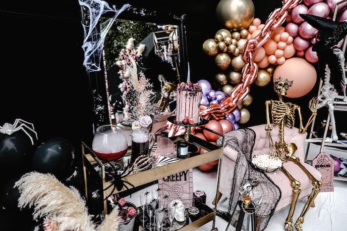 Halloween Beverage Cart from a Glam Creepy Halloween Party on Kara's Party Ideas | KarasPartyIdeas.com