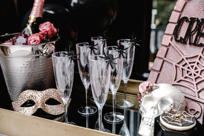 Spider-adorned Glasses from a Glam Creepy Halloween Party on Kara's Party Ideas | KarasPartyIdeas.com