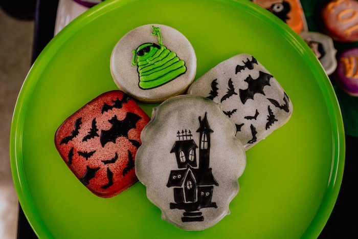 Hotel Transylvania Cookies from a Hotel Transylvania Monster Cruise Summer-ween Party on Kara's Party Ideas   KarasPartyIdeas.com