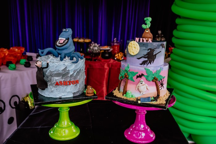 Hotel Transylvania Cakes from a Hotel Transylvania Monster Cruise Summer-ween Party on Kara's Party Ideas   KarasPartyIdeas.com