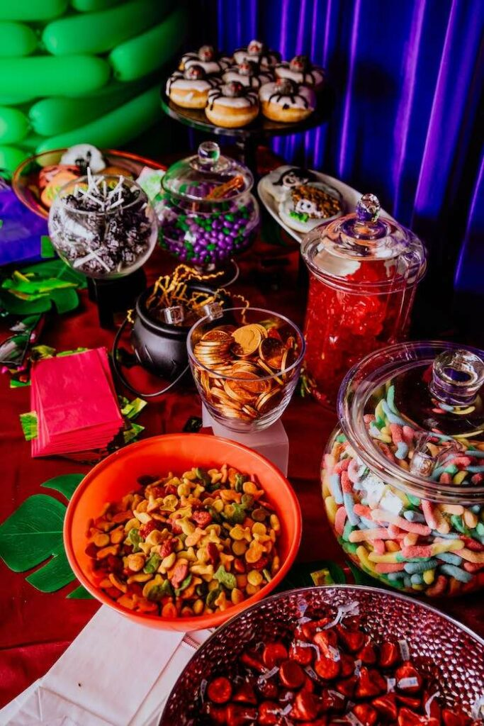 Snack Table from a Spider Donuts from a Hotel Transylvania Monster Cruise Summer-ween Party on Kara's Party Ideas   KarasPartyIdeas.com