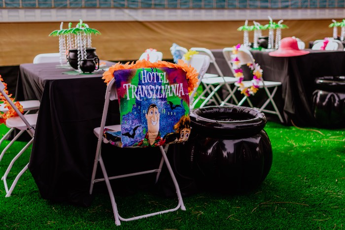 Guest Table from a Hotel Transylvania Monster Cruise Summer-ween Party on Kara's Party Ideas   KarasPartyIdeas.com